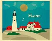 Maine Skyline, Portland Head Lighthouse Print, Maine Wall Art, Maine Print, Portland Head Maine Wall Art, Loose Petals Art, style  E8-O-MAI