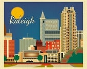 Raleigh Skyline Print, Raleigh NC Gift, Raleigh Art Print,  Raleigh horizontal wall art, Raleigh NC City Art, Loose Petals - style E8-O-RAL