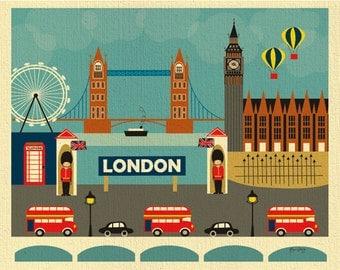 London print, London Skyline Wall Art, London Decor, London Nursery Print, London baby, UK Gift, Retro British Art Print style E8-O-LON