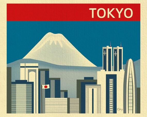 Tokyo Skyline Print, & Mt. Fuji, Japan Horizontal Print, Tokyo Japan Art,  Japanese Wall Art, Loose Petals Tokyo City Print - style E8-O-TOK