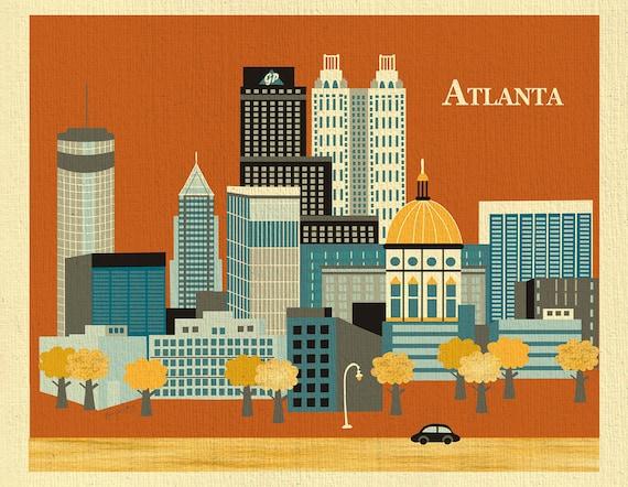 Atlanta skyline art print, Atlanta map, Atlanta Wall Art, Atlanta ...