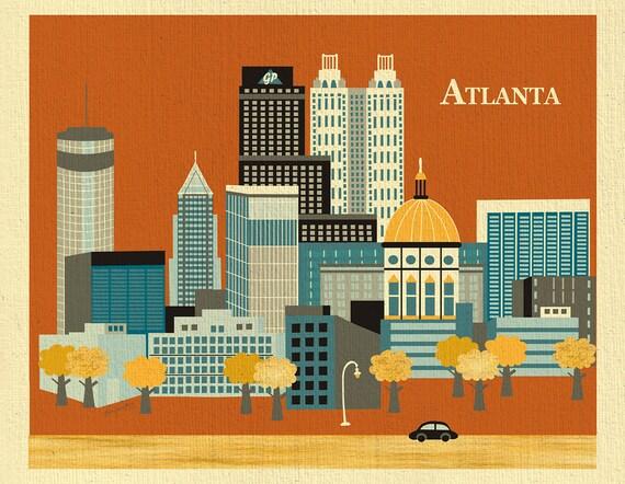 Atlanta skyline art print, Atlanta map, Atlanta Wall Art, Atlanta Nursery Print, Atlanta Peach Gift, Loose Petals City Art, style E8-O-AT