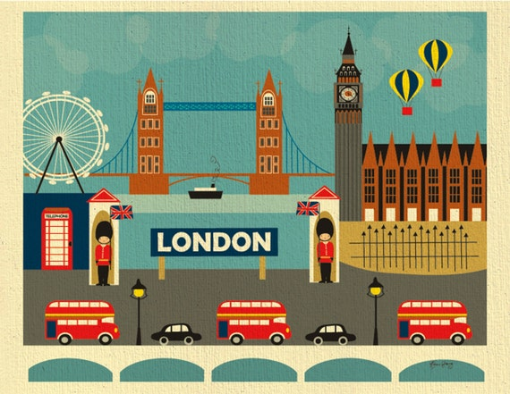 London print, London Skyline Wall Art, London Decor, London Nursery Print, London baby, UK Gift, Retro British Art Print style E8-O-LON