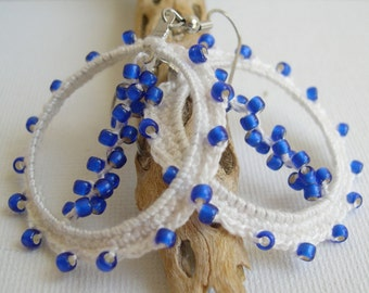 White and Blue Lace Earrings - White and cobalt blue Earrings - Lace Fashion Hoop earrings - Boho Crochet  Earrings - Big Hoop Earrings