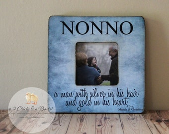 Custom Nonno Picture Frame, Shabby Chic Frame, Fathers Day Gift, Personalized Frame