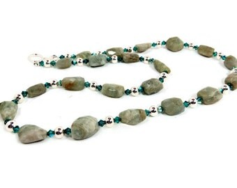 Faceted Aquamarine Nuggets, Teal Swarovski Crystals, and Silver Round Beads Necklace