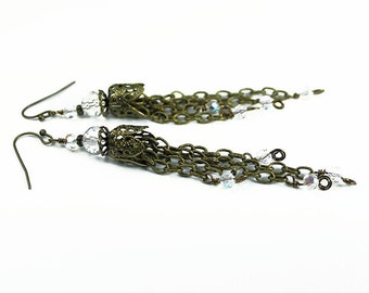 Brass Filigree Chain and Crystal Tassel Earrings