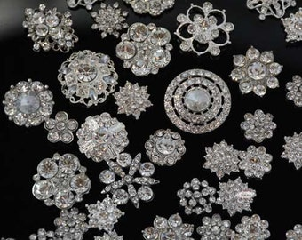 Rhinestone Buttons - 20pc Flatback Buttons - DIY Wedding Supplies - Supplies - Brooch Bouquet Supplies - Hairbow - Craft Supplies -