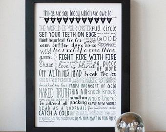Shakespeare Speak Fine Art Print - British Print, Typography, Fonts, Teacher gift, Gallery Wall, Monochrome, Book Lover Gift.