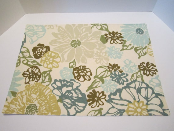 Lined Place Mats Teal Aqua Turquoise Olive Green Light Mustard Sea Foam Green Floral  - Set of 4