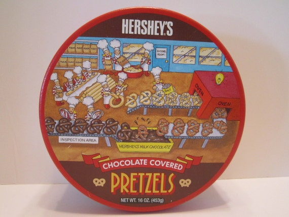 Hersheys Chocolate Covered Pretzel Vintage Tin Container 1992