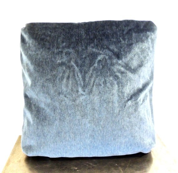 Items similar to vintage velvet throw pillow - 1960s muted blue pillow on Etsy