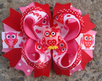 Valentine Hair Bow Owl hair bow Boutique hair bow Stacked Hair Bow Large Hair Bow Hair Clip