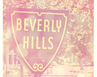 Beverly Hills sign photograph, photo of LA, Los Angeles, dreamy pink, girlie, teenager decor, California art print, 90210