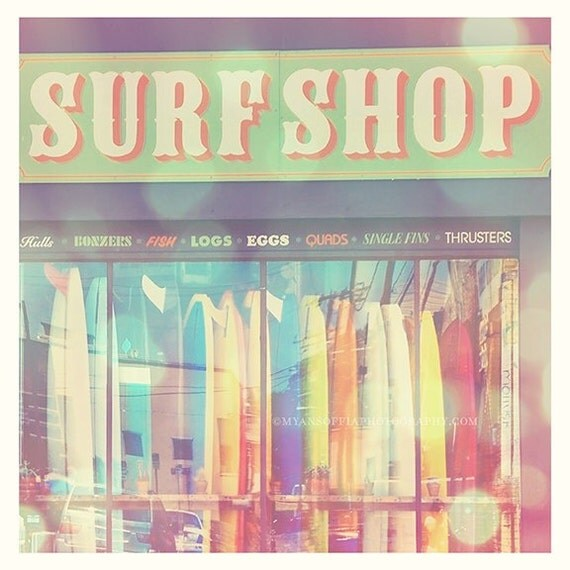 large surfer print, California photography, surfer decor, beach lovers, summer vacation, surf shop rainbow surfboards, girls room, poster