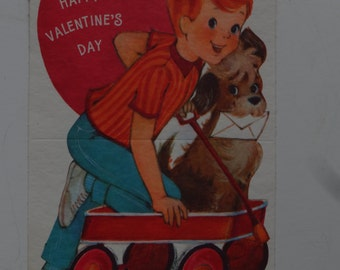 Vintage Valentine Red Headed Boy Sweet 1950's  or Earlier Retro