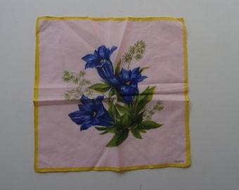 Vintage Hankie or Handkerchief Roses Florals 1940's Em Jo Pe Handkerchief Designer