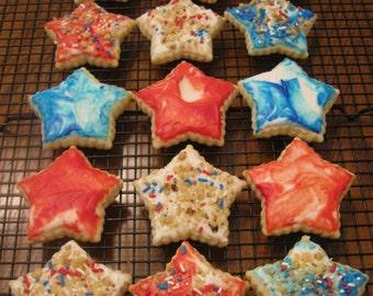 Star Cut Out Cookies, Patriotic Cookies, 4th of July Cookies, Memorial Day Cookies, Labor Day Cookies, Cut Out Cookies, Frosted Cookies,