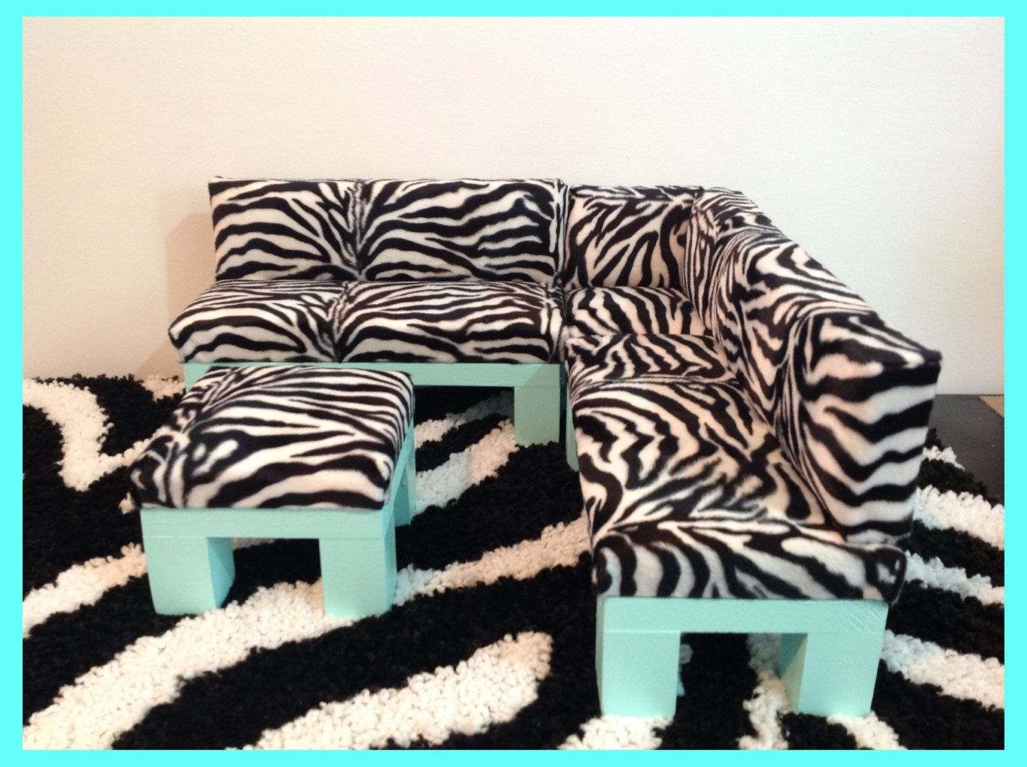 Zebra Print Sectional Sofa Furniture Set With Ottoman By Crixina