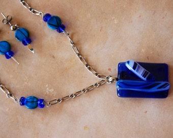 Blue Skies -  Blue Art Glass Necklace, Earrings