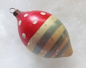 Vintage patriotic ornament Christmas bulb ornament teardrop ornament hand painted ornament red white and blue glass ornament