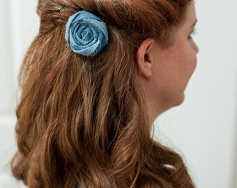 Denim Flower, hair clip, upcycled, Hair Accessory, hair flower, recycled, repurposed, hair pins, eco-friendly
