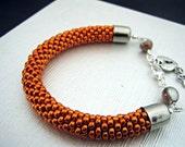 Metallic Orange Bead Crochet Bracelet - Orange Bangle - Beaded rope bracelet