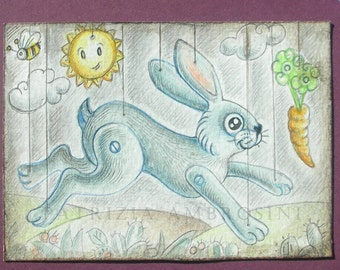 Original ACEO puppetbunny..  Original Painting Watercolor Card collectible fine art