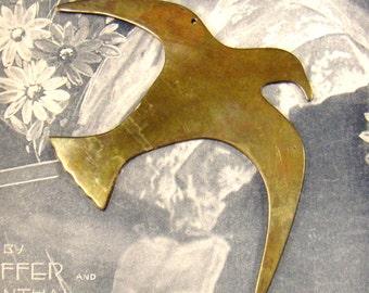 Vintage Brass Seagull Figure - Hanging Sea Gull Bird - Converged Commodities - epsteam vestiesteam