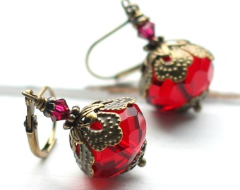 Red Glass Earrings, Vintage Style Scarlet Faceted Czech Glass Earrings, Antique Brass Leverback, Crimson Glass Rondelles