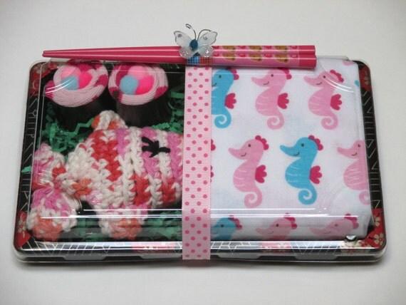 Baby Girl Onesie & Baby Sushi Shower Gift Set - Seahorses