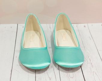 Aqua Blue Shoes - Wedding Shoes - Aqua Blue Wedding Shoes - Aqua Blue Flats - Wedding Flats - Choose From Over 150 Colors - Ballet