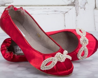 Wedding Shoes - Ballet Flats - Red - Crystals - Flats - Shoes - Handmade Wedding - Rouge Wedding - Choose Over 100 Colors Rouge Red Shoes