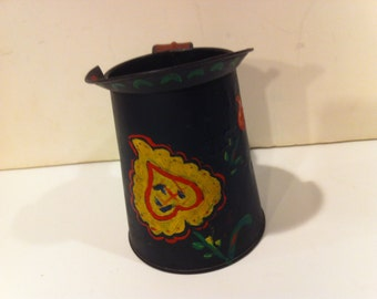 Vintage Black Tin Pitcher