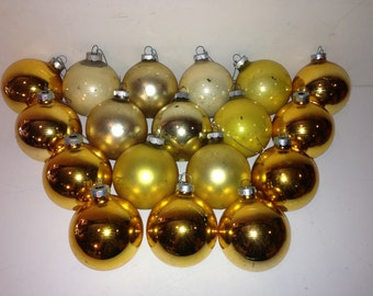 Set of 18 Vintage Gold/Yellow Christmas Ball Ornaments