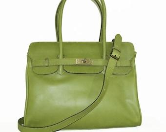 Genuine Leather Bag Cross-body Purse Ilita in pistachio green