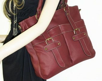 "Dark Cherry Red Tote, Handbag, Shoulder Cross-body Bag, Lea, fits a 13"" laptop"