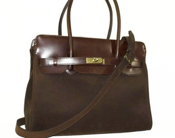 Dark brown Leather Bag Cross-body Purse Ilita