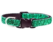 "Cat Collar - ""The Good Witch"" - Emerald Green Sparkle"