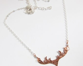 Handcrafted deer antler necklace Mixed metal horn pendant Rustic deer head necklace Bohemian jewelry Hammered copper and silver metalwork