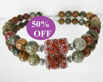 NOW 50% OFF!  Bold Picasso Jasper Necklace featuring Boro bead by RonsickOriginals