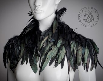 Black feather Shoulder piece / Feather shrug / High half collar feather shoulder piece /  Edgy fashion shoulder accessories / Burnin Man