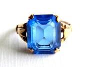 Vintage MCGrath Hamin 10K Gold Filled Blue Ring - 2 Carats Emerald Cut Glass - Signed MH - Size 6