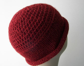 LUXE Crochet Small Beanie Hat in RED Fine Alpaca Wool / Luxurious Crochet Hat / Ready to ship