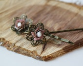 Vintage Enamel Rose Bobby Pin Set of 2 Shabby Chic