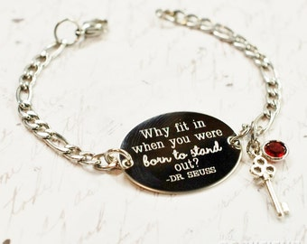 Why fit in Dr. Suess quote oval bracelet, stainless steel with swarovski crystal or pearl