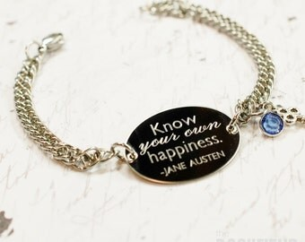 Know your own happiness Jane Austen quote oval bracelet, stainless steel with swarovski crystal or pearl