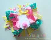 Easter Bunny Boutique Style Hair Bow Pink Yellow Tropic