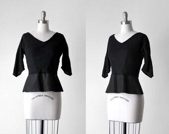 50's peplum top. 1950's black blouse. eyelet. sheer. small blouse. 50 bombshell top.