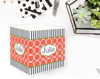 Hoops Stripe Personalized Sticky Note Note Cube Monogrammed Custom Personalized Birthday Office Teacher Co-Worker Gift Post It Notes 700 Sht
